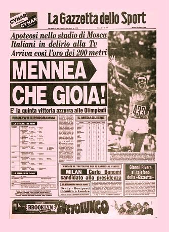 La prima pagina della Gazzetta del 29 luglio 1980