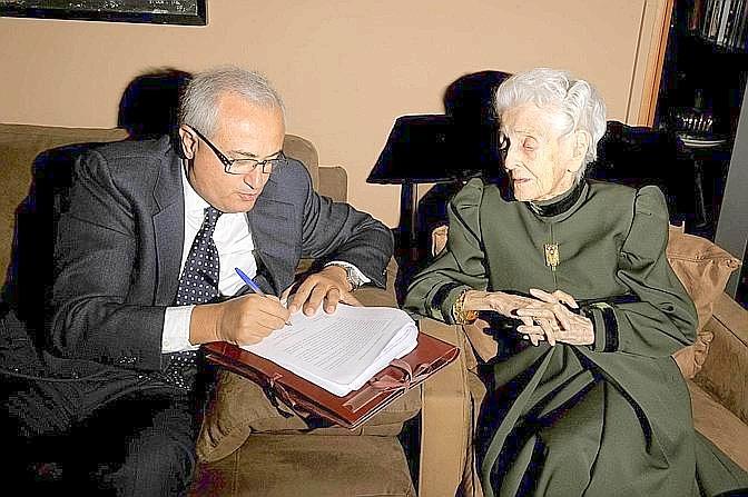 Mennea con Rita Levi Montalcini