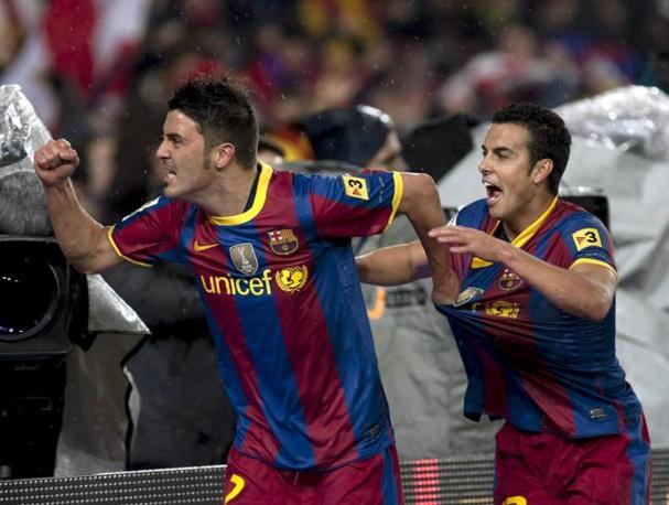 Villa (davanti) ispira, Pedro colpisce: 2-0 e Barça padrone del campo. Ansa