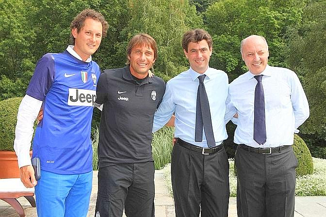 John Elkann, Antonio Conte, Andrea Agnelli e Giuseppe Marotta. LaPresse