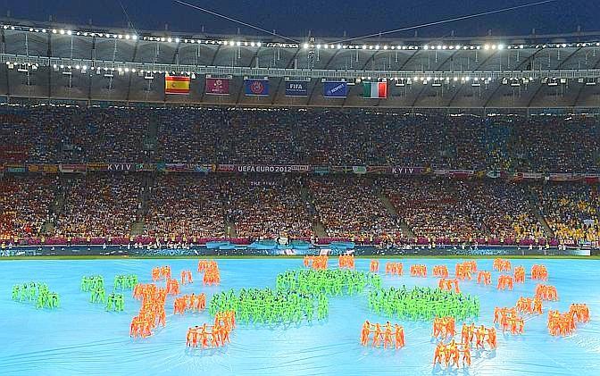 Tutto pronto allo Stadio Olimpico di Kiev, che ospita la finale. Afp