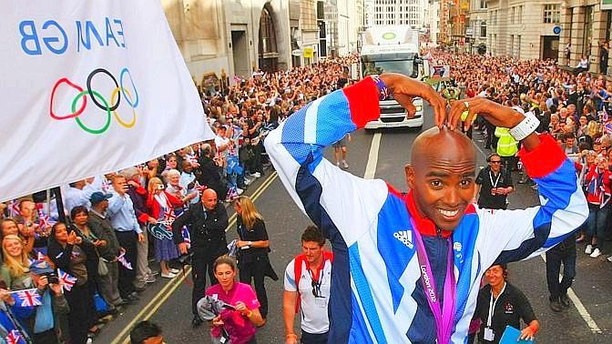 Mo Farah, autore della storica doppietta su 5000 e 10.000 m, tra i più applauditi. Reuters