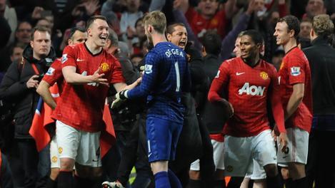La gioia all'Old Trafford dello United campione. Epa