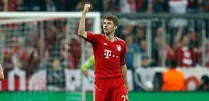Thomas Muller esulta: Bayern in vantaggio grazie al suo gol. Ap
