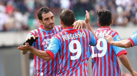 L'esultanza di Bergessio dopo il gol. LaPresse