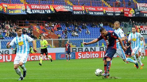 Il secondo gol di Borriello. LaPresse