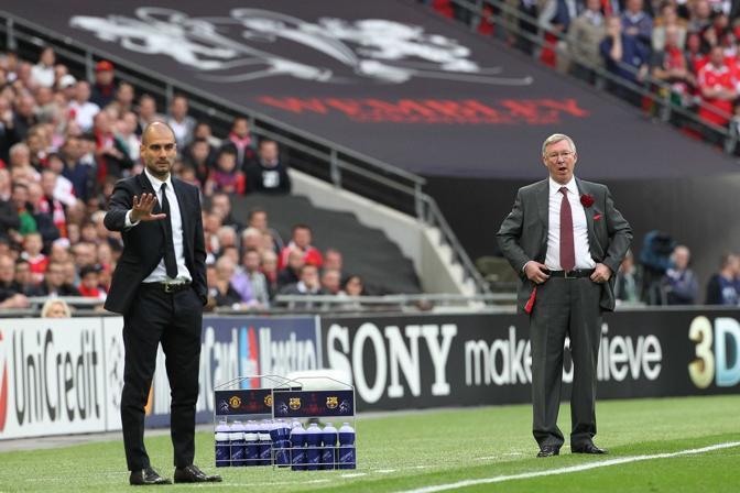28 maggio 2011. Finale di Champions a Wembley, Guardiola e Ferguson. LaPresse