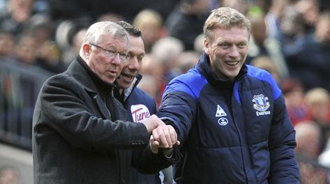 Alex Ferguson e David Moyes durante un Manchester United-Everton. Ap