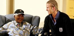David Beckham con Nelson Mandela. Action