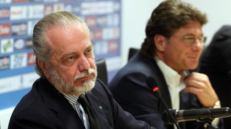 Aurelio De Laurentiis e Walter Mazzarri. Ansa