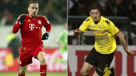 Franck Ribery e Robert Lewandowski. Afp