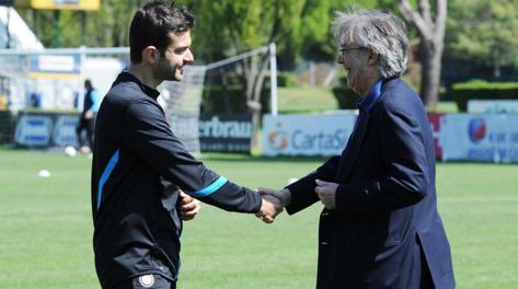 Andrea Stramaccioni e Massimo Moratti. Ansa