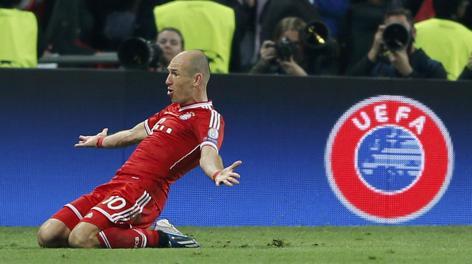 Robben esulta incredulo: all'89' il gol della vittoria di Wembley. Reuters