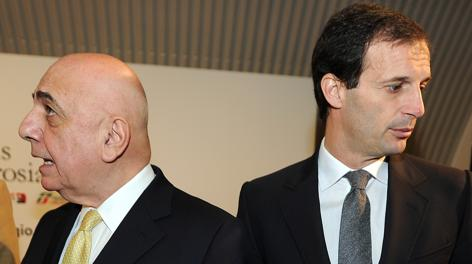Adriano Galliani e Massimiliano Allegri. Ansa