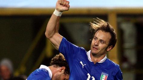 Alberto Gilardino festeggia la rete a S. Marino. Forte
