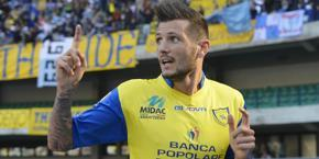 Cyril Thereau, attaccante del Chievo. Ansa