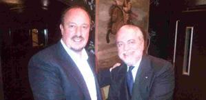 L'incontro tra Rafa Benitez e Aurelio De Laurentiis. Ansa