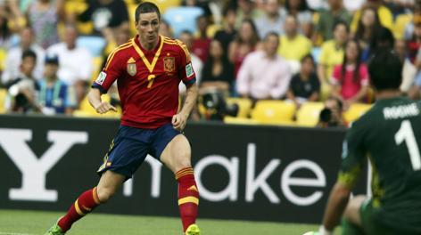 Fernando Torres a segno contro Tahiti. Reuters
