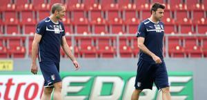 Chiellini e Barzagli in allenamento. LaPresse