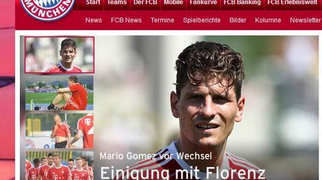 L'annuncio del Bayern Monaco della cessione di Mario Gomez alla Fiorentina sul proprio sito