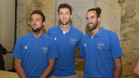 Marco Belinelli, Andrea Bargnani e Gigi Datome. Ciam/Cast