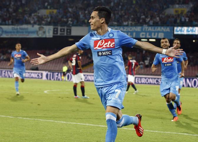 Jose Callejon, ex Real Madrid,  segna il primo  gol del Napoli nella serie A 2013-2014. Al San Paolo gli azzurri di Benitez battono il Bologna 3-0. Di Hamsik le altre reti. Reuters