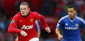 Wayne Rooney inseguito da Eden Hazard. Action