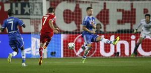 Ribery scocca il destro dell'1-1. LaPresse