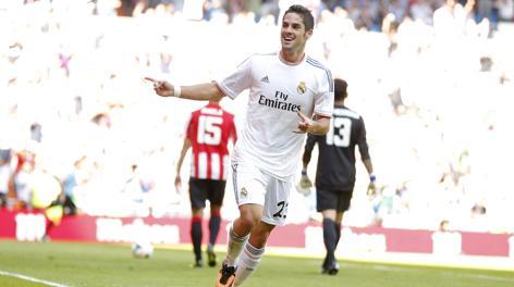 Francisco Alarcon Isco festeggia il gol dell'1-0. Ap'