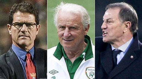 Fabio Capello, Giovanni Trapattoni e Gianni De Biasi. Afp, Bozzani, Reuters