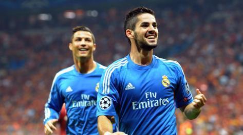 Isco e Cristiano Ronaldo, due dei tanti protagonisti Real nella goleada sul Galatasaray. Afp