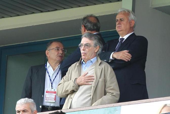 Il presidente del Sassuolo Squinzi con quello dell'Inter Massimo Moratti. Ansa