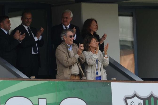 Il sorriso di Massimo Moratti in tribuna Lapresse