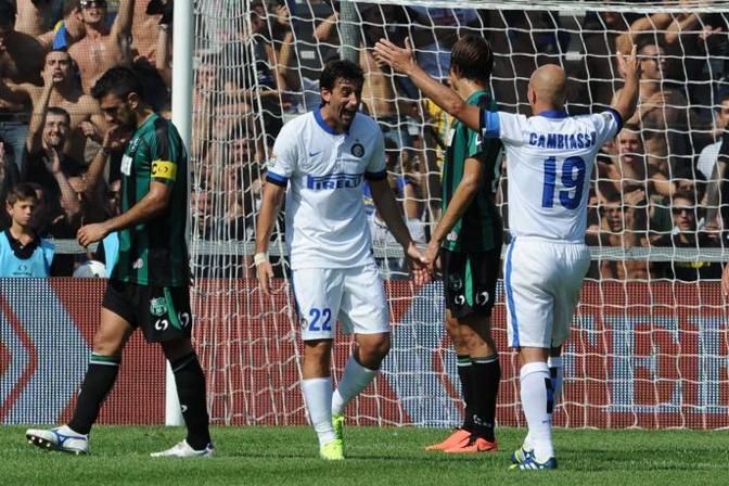 I due argentini, Milito e Cambiasso festeggiano Lapresse