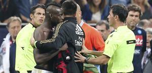 Balotelli espulso  dopo la fine di Milan-Napoli. LaPresse