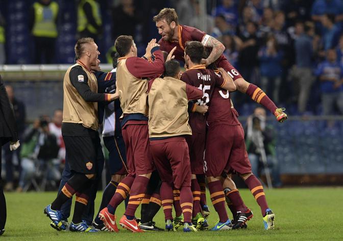Sampdoria-Roma 0-2. A fine partita esplode la gioia giallorossa al Ferraris. Ansa