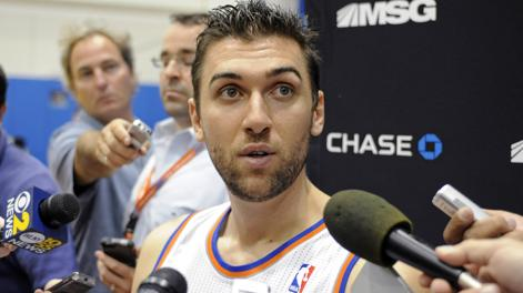 Andrea Bargnani al media day dei Knicks. Ap