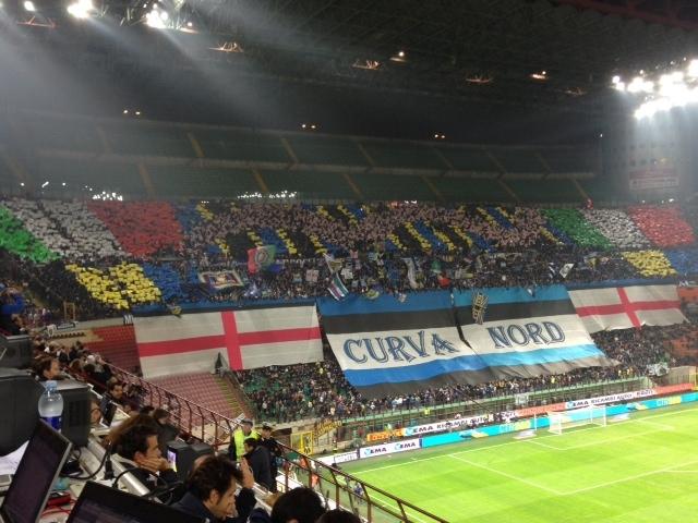 La scenografia della curva Nord prima del fischio di inizio di Inter-Roma