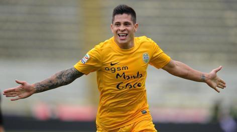 Juan Iturbe dopo il gol  col Bologna. Ansa