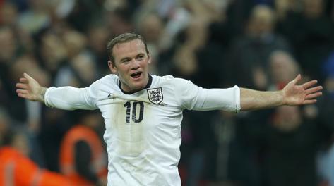 L'esultanza di Wayne Rooney dopo l'1-0. Reuters
