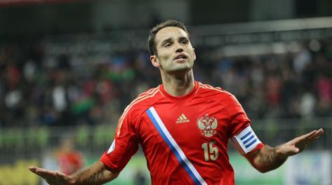 Roman Shirokov  esulta dopo il gol del vantaggio russo. Ap
