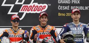 I soliti tre sul podio di Brno. LaPresse
