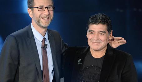 Maradona con Fabio Fazio. Ansa