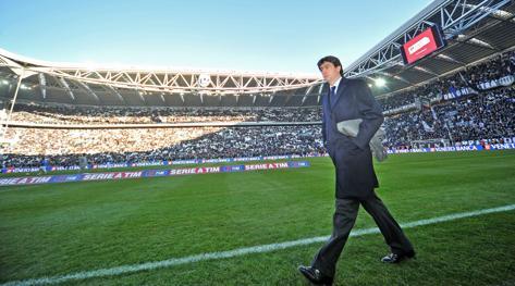 Il presidente Andrea Agnelli all'interno dello Juventus Stadium. LaPresse