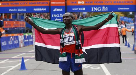 Il keniano Geoffrey Mutai, re di New York per la seconda edizione consecutiva. Reuters