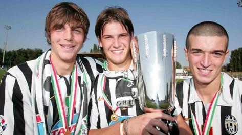 Raffaele Bianco ai tempi della Juventus Primavera, con De Ceglie e Maniero (Pescara). Lapresse