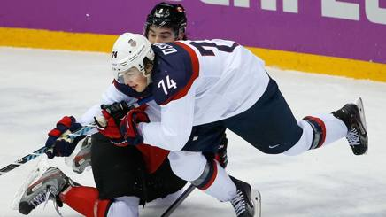 Una fase della semifinale tra Canada e Stati Unititi. Ap