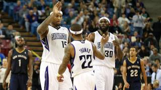 DeMarcus Cousins, Isaiah Thomas e Reggie Evans. Usa Today Sports