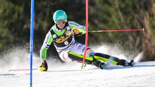Felix Neureuther in azione a Kranjska Gora. Afp