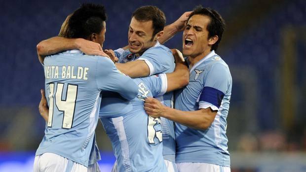 Festa Lazio dopo l'1-1. LaPresse